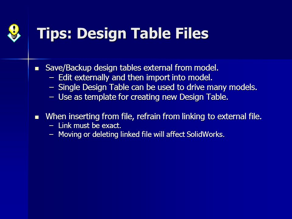 Tips: Design Table Files