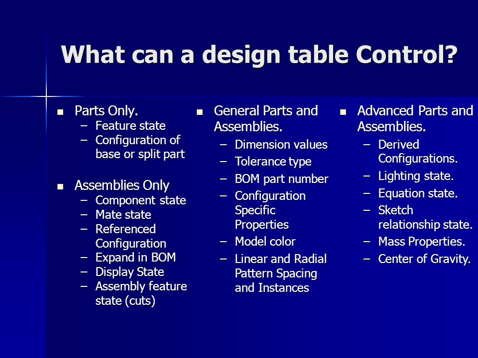 What can a design table Control