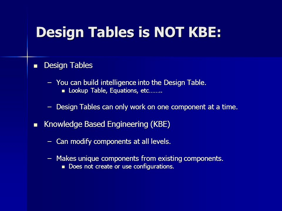 Design Tables is NOT KBE: