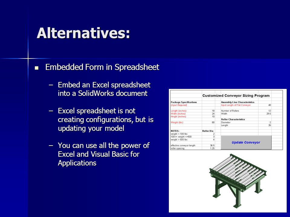 Alternatives: Embedded Form in Spreadsheet