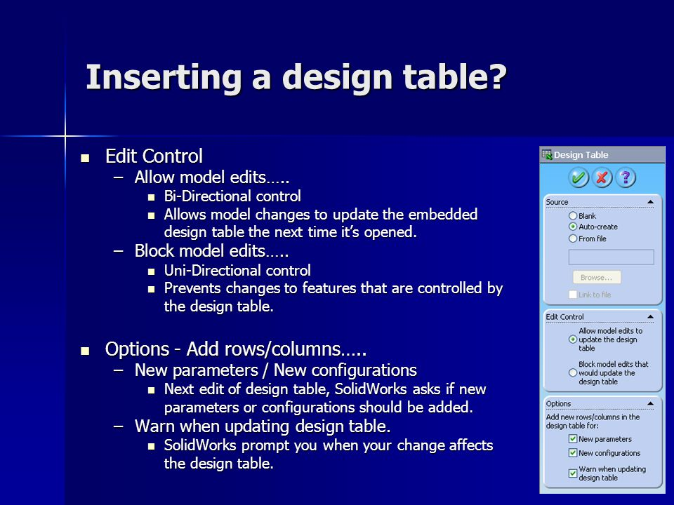 Inserting a design table