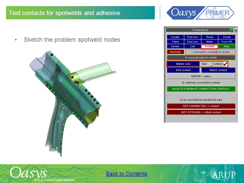 Tied contacts for spotwelds and adhesive