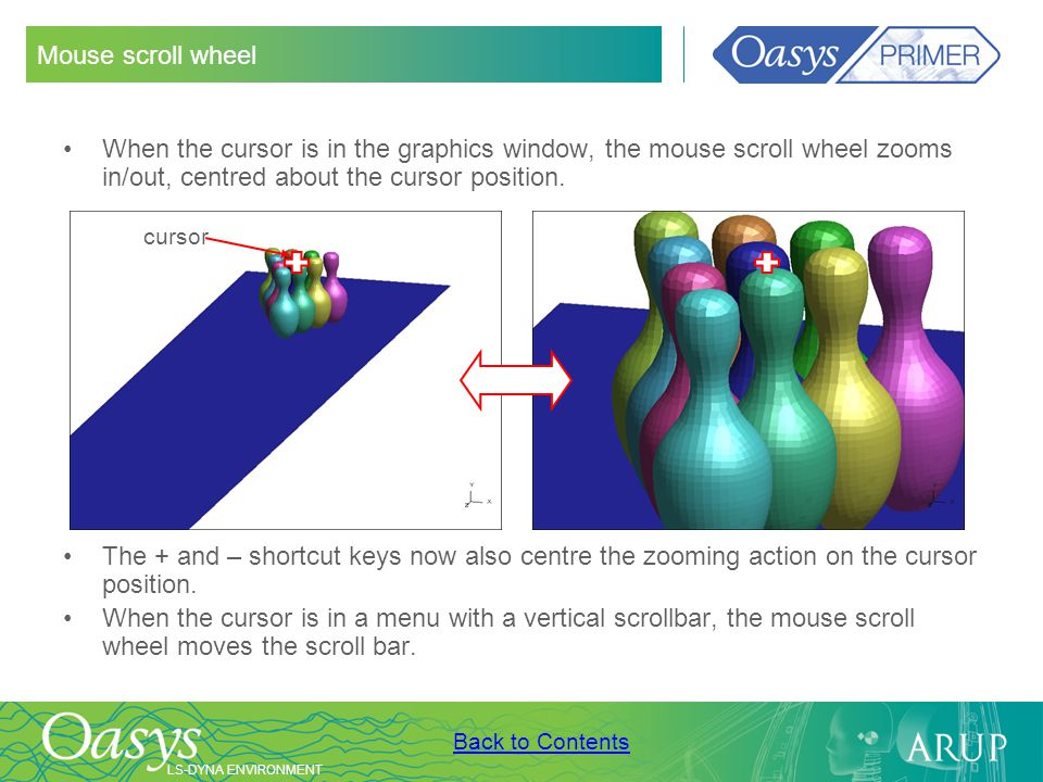 Mouse scroll wheel When the cursor is in the graphics window, the mouse scroll wheel zooms in/out, centred about the cursor position.