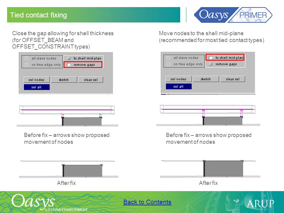 Tied contact fixing Close the gap allowing for shell thickness (for OFFSET_BEAM and OFFSET_CONSTRAINT types)