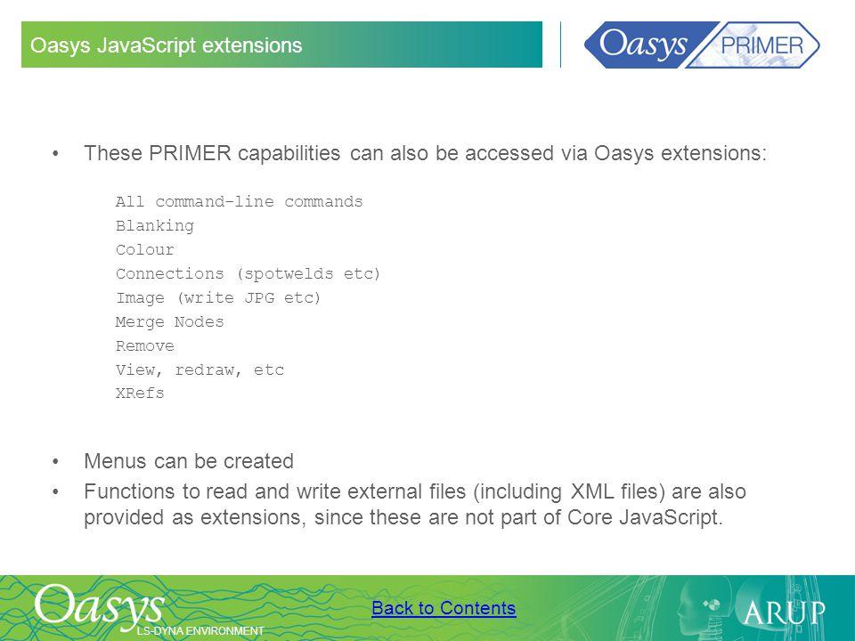 Oasys JavaScript extensions