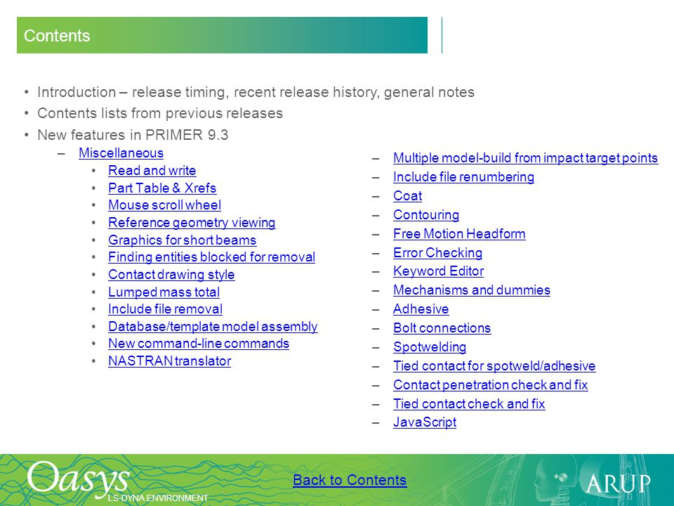 Contents Introduction – release timing, recent release history, general notes. Contents lists from previous releases.