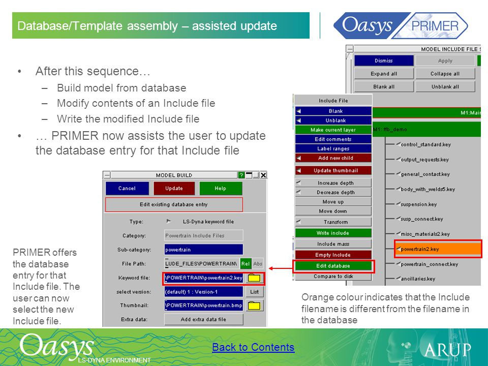Database/Template assembly – assisted update