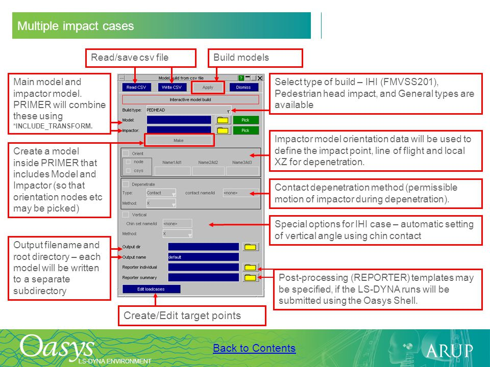 Multiple impact cases Create/Edit target points Read/save csv file
