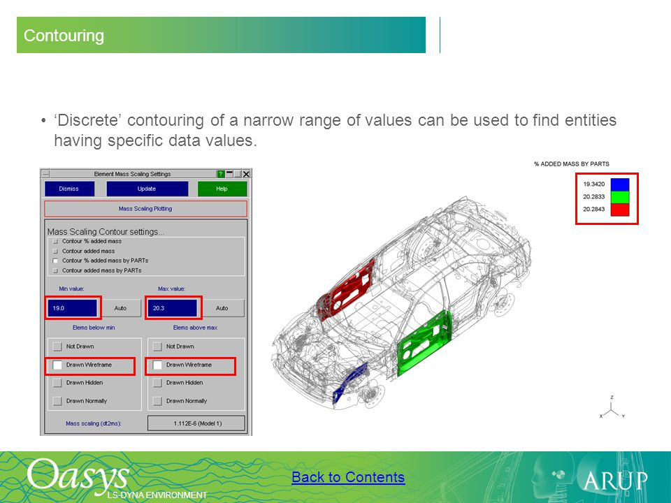 Contouring 'Discrete' contouring of a narrow range of values can be used to find entities having specific data values.