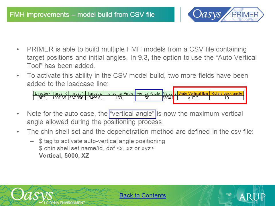 FMH improvements – model build from CSV file