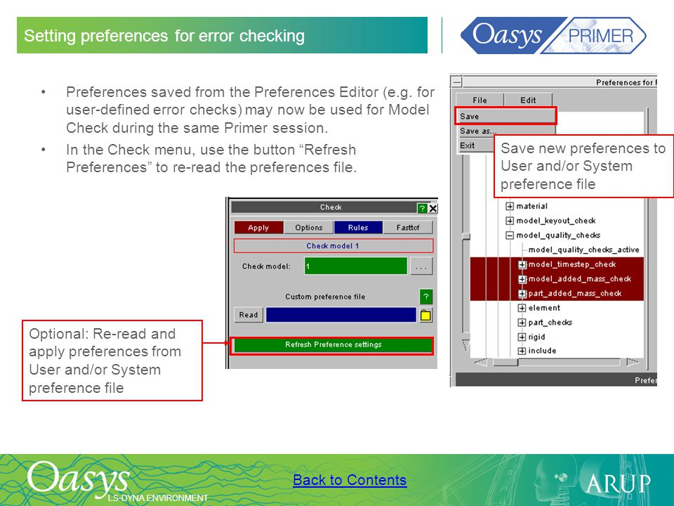 Setting preferences for error checking