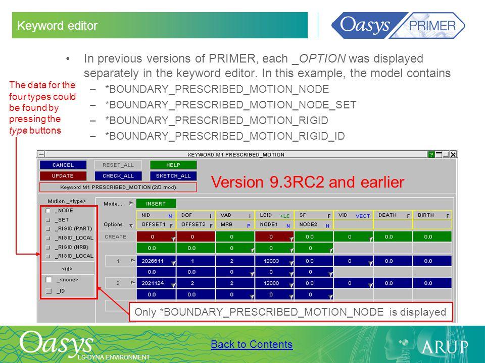 Version 9.3RC2 and earlier Keyword editor
