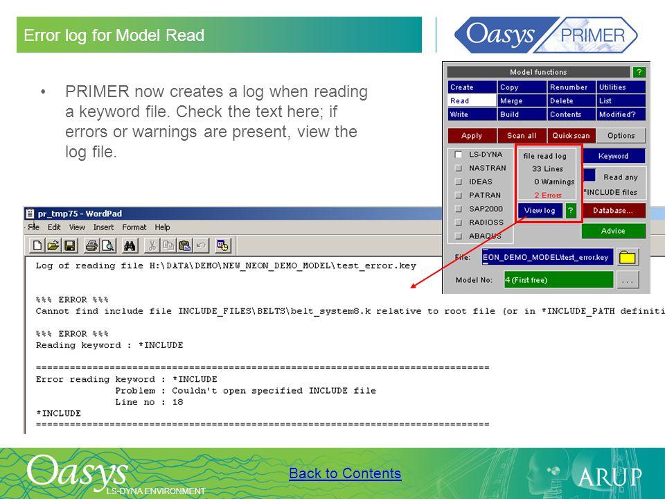 Error log for Model Read