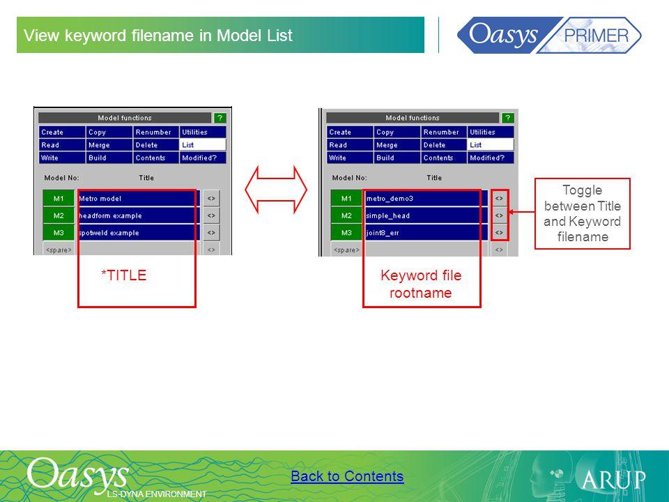 View keyword filename in Model List