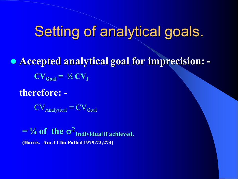 Setting of analytical goals.