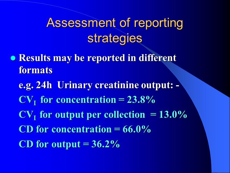 Assessment of reporting strategies