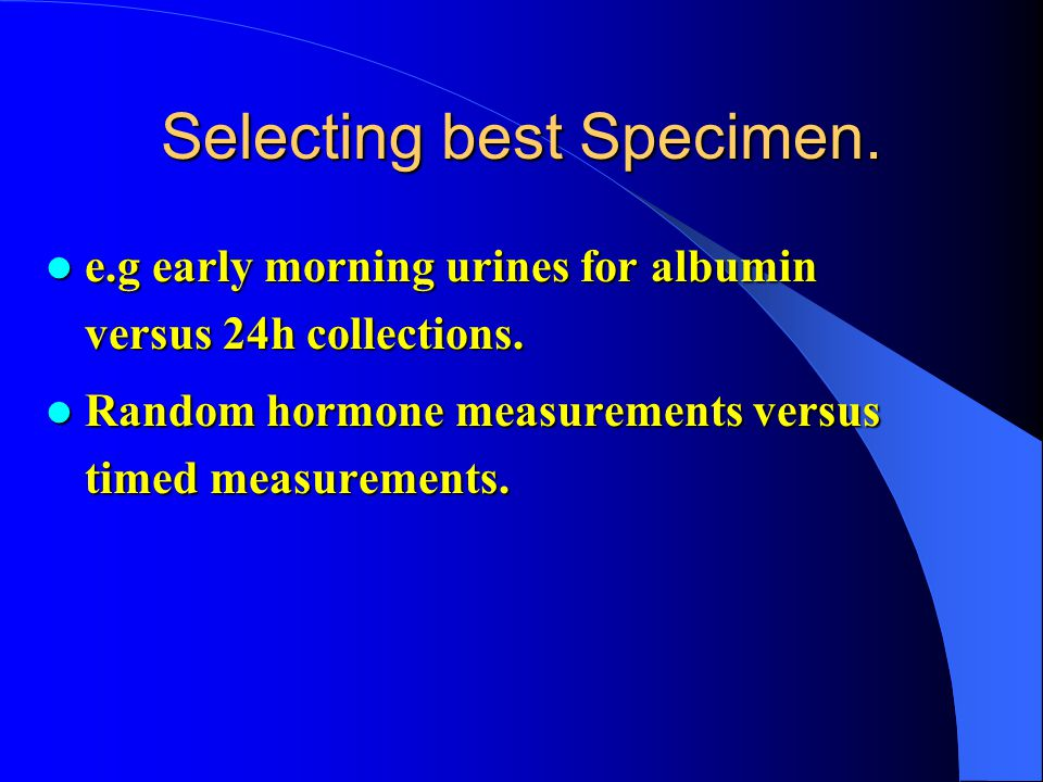 Selecting best Specimen.