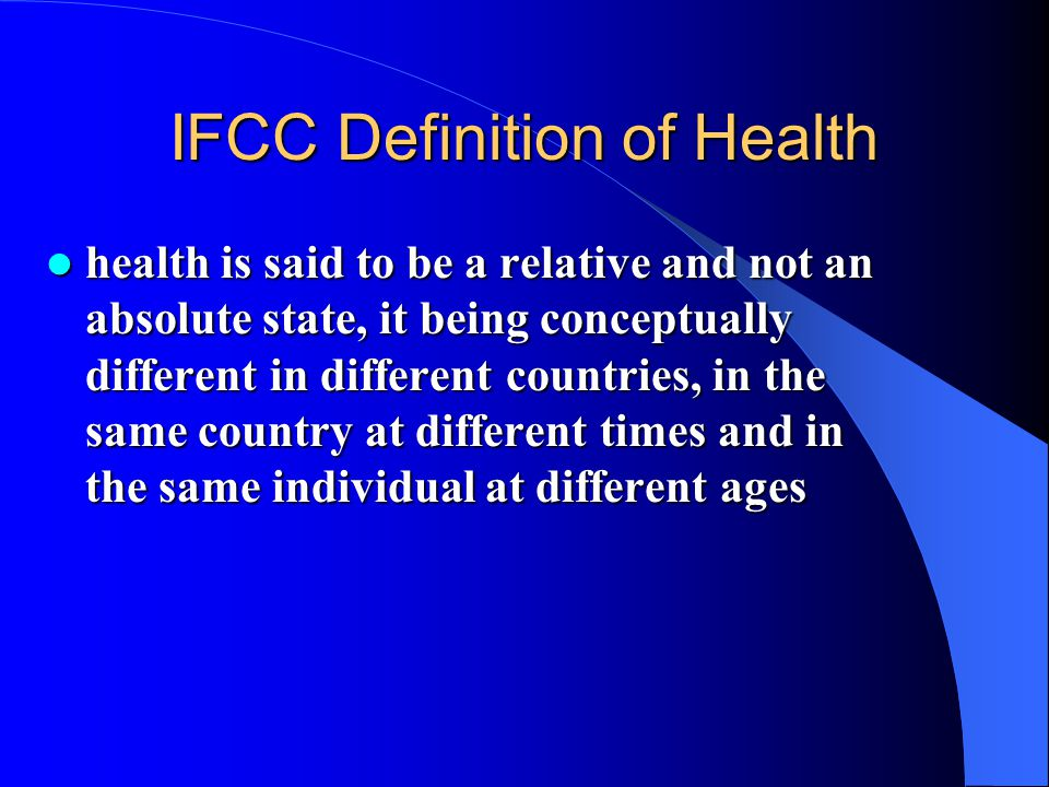 IFCC Definition of Health