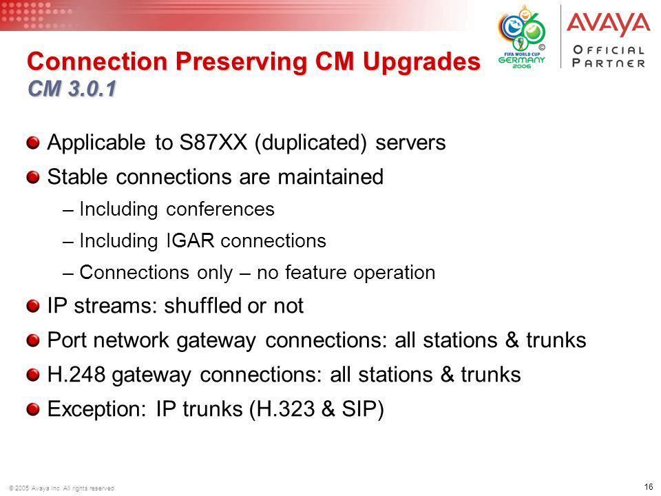 Connection Preserving CM Upgrades CM 3.0.1