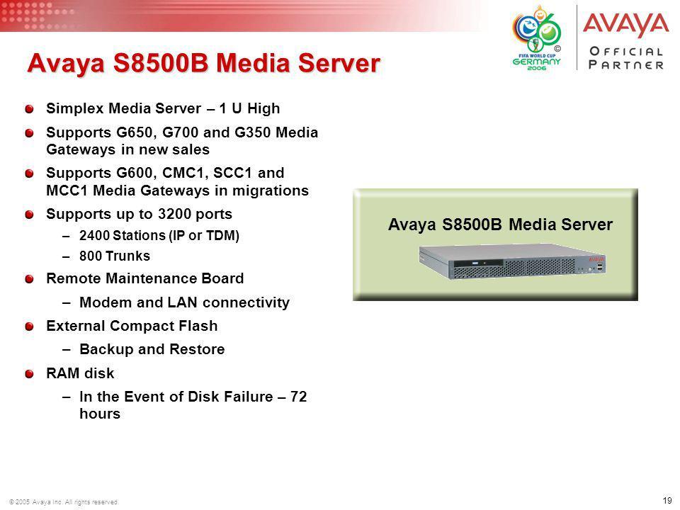 Avaya S8500B Media Server Avaya S8500B Media Server