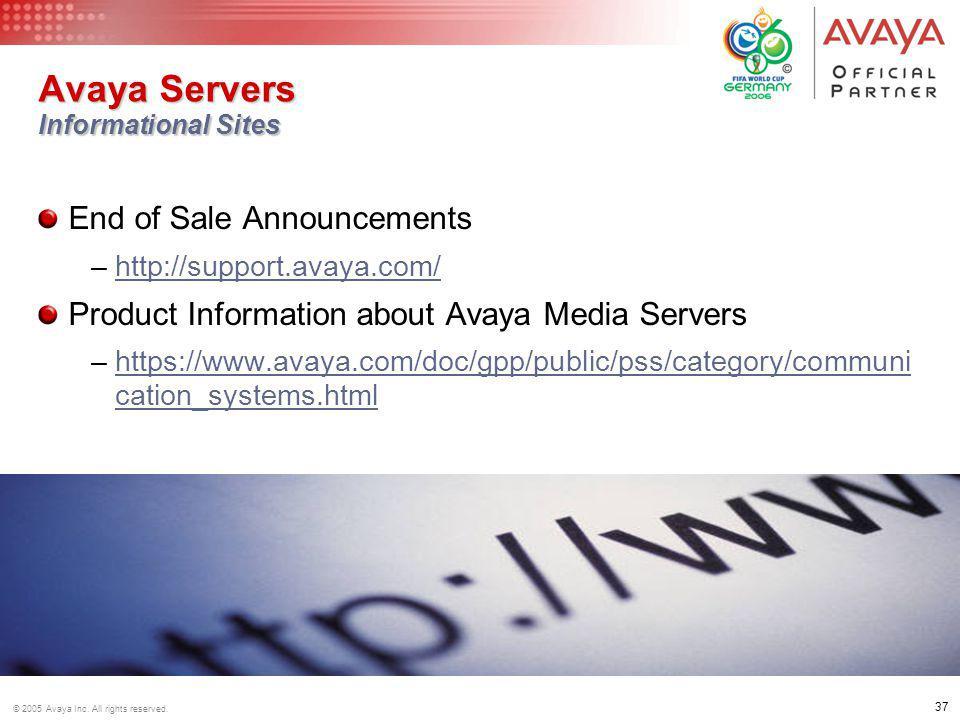 Avaya Servers Informational Sites