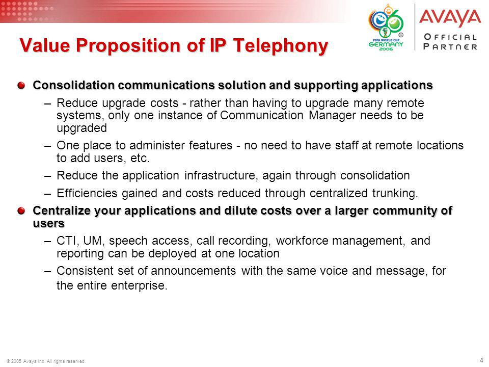 Value Proposition of IP Telephony