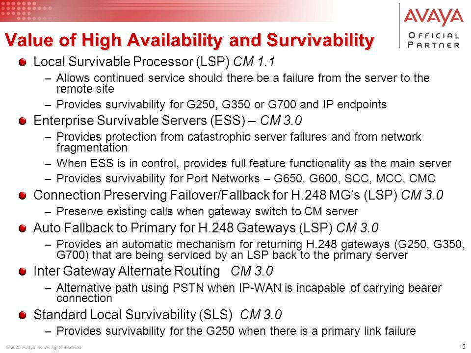 Value of High Availability and Survivability