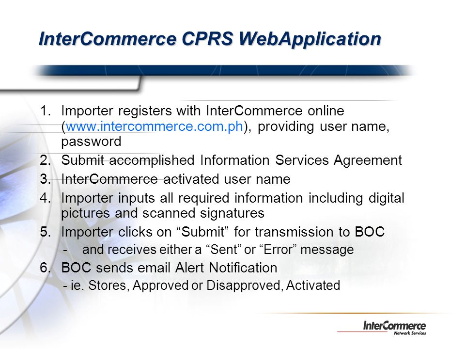 InterCommerce CPRS WebApplication