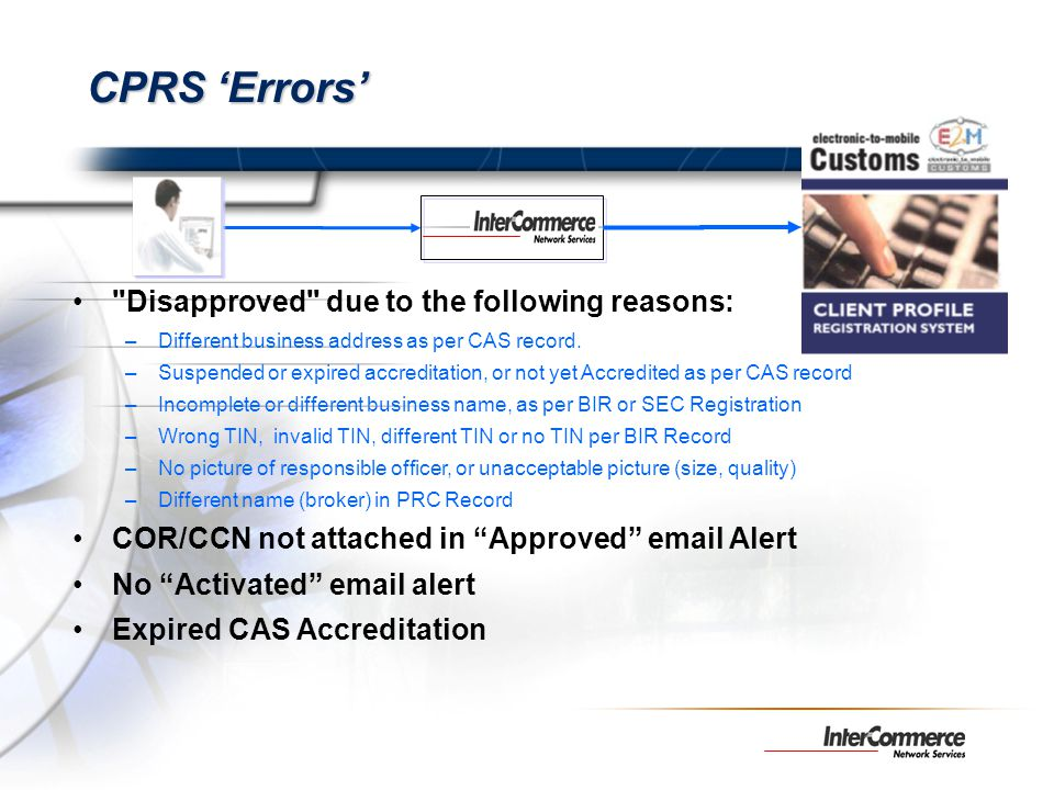 CPRS 'Errors' Disapproved due to the following reasons: