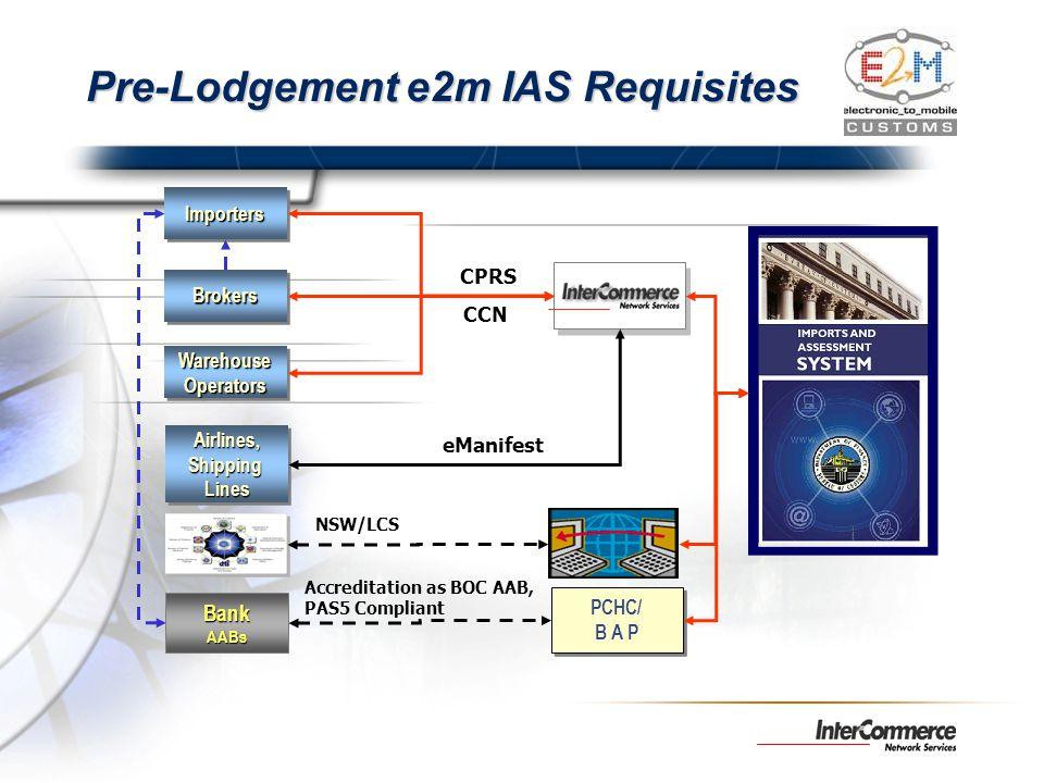 Pre-Lodgement e2m IAS Requisites