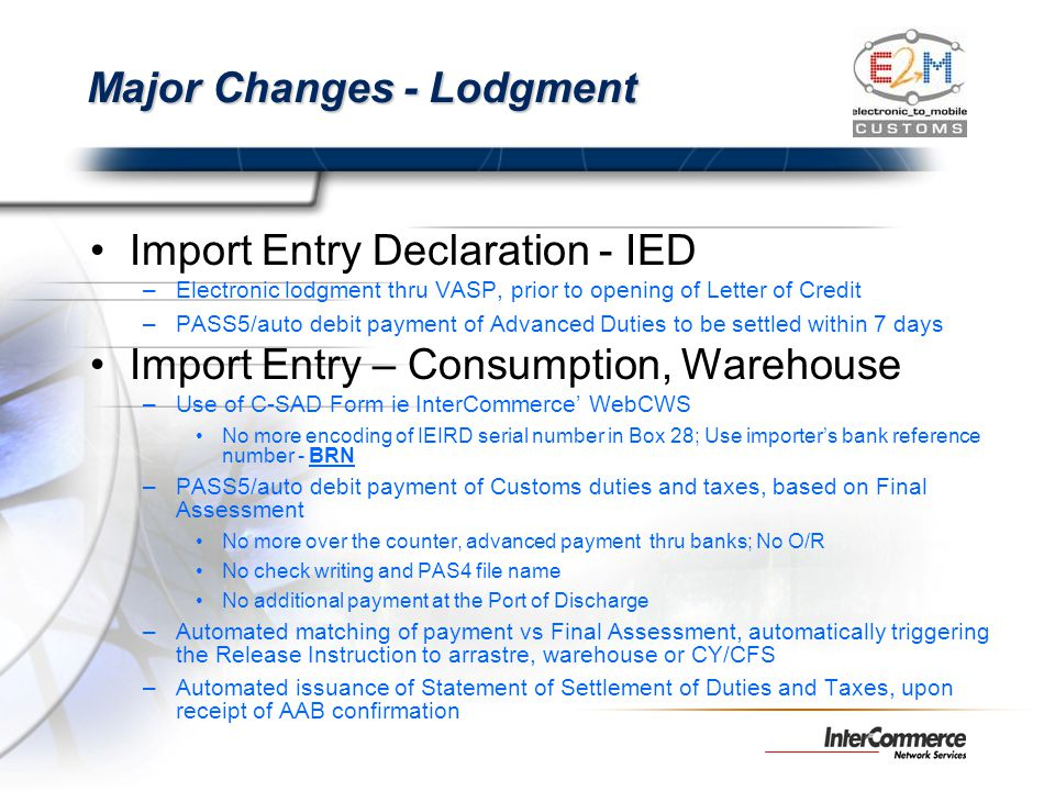 Major Changes - Lodgment