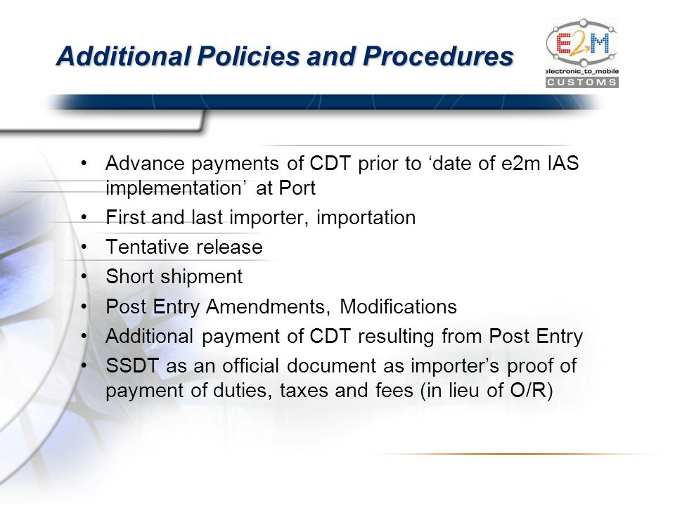 Additional Policies and Procedures