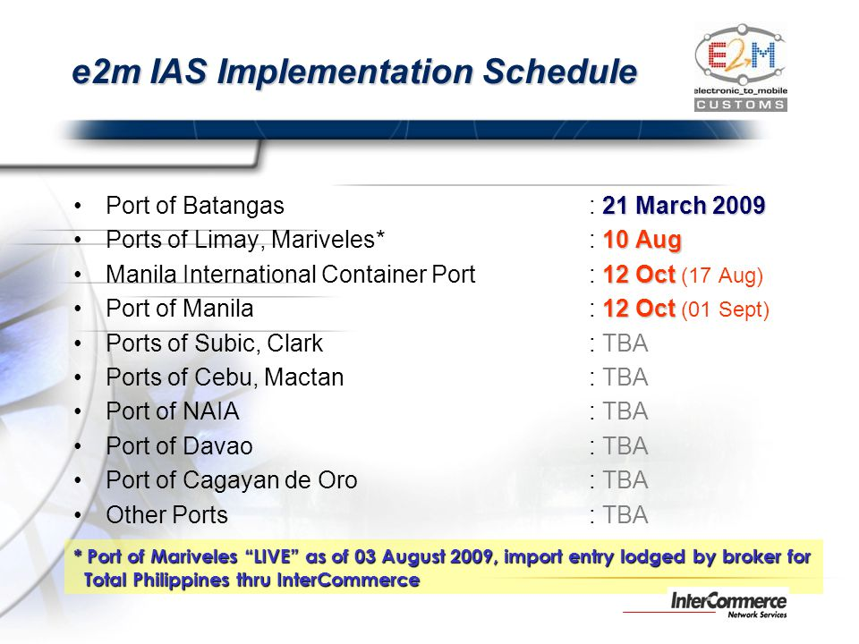 e2m IAS Implementation Schedule