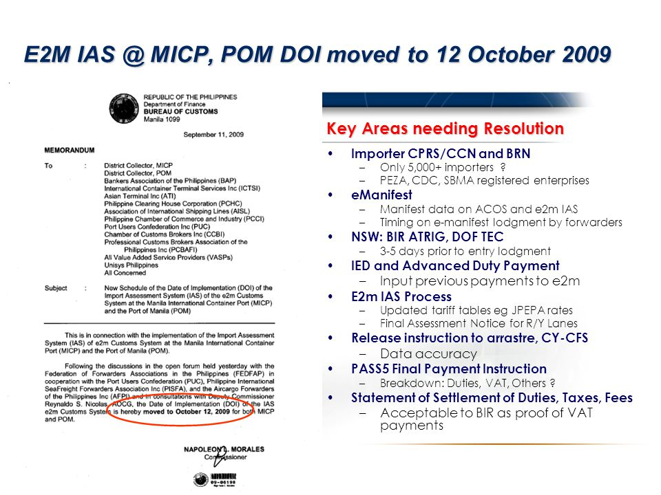 E2M IAS @ MICP, POM DOI moved to 12 October 2009