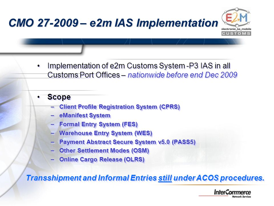 CMO 27-2009 – e2m IAS Implementation