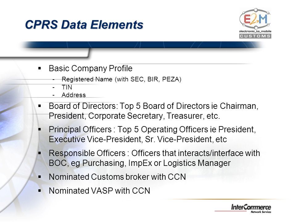 CPRS Data Elements Basic Company Profile