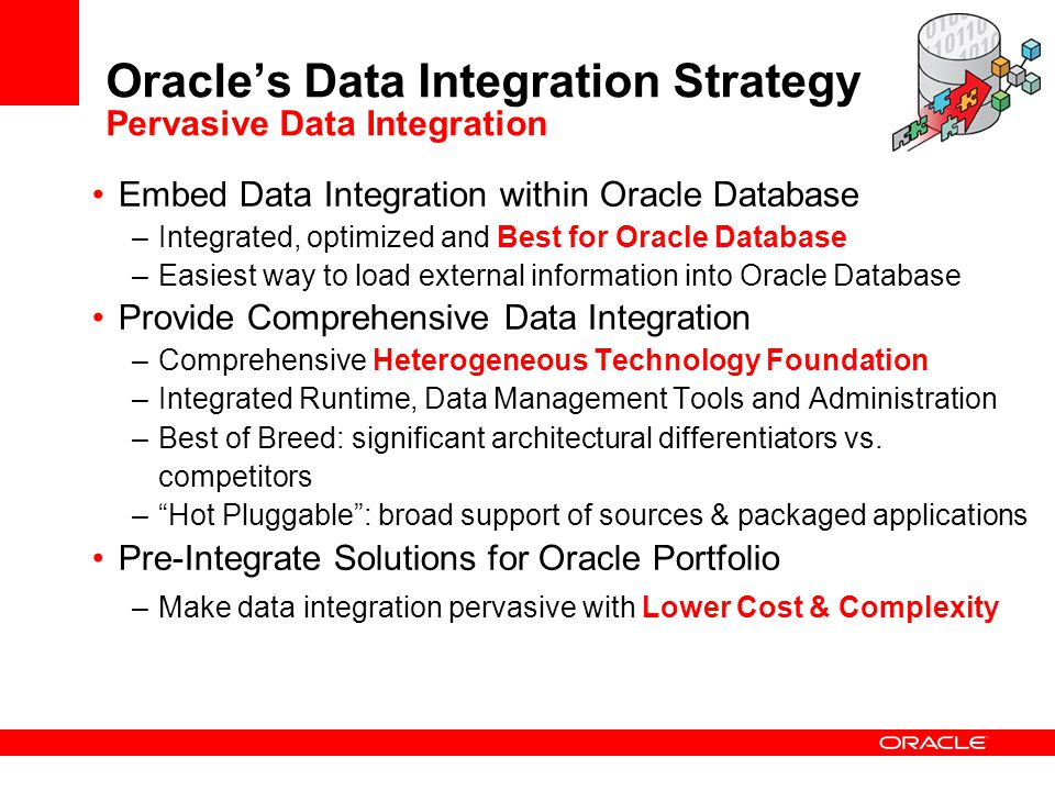 Oracle's Data Integration Strategy Pervasive Data Integration
