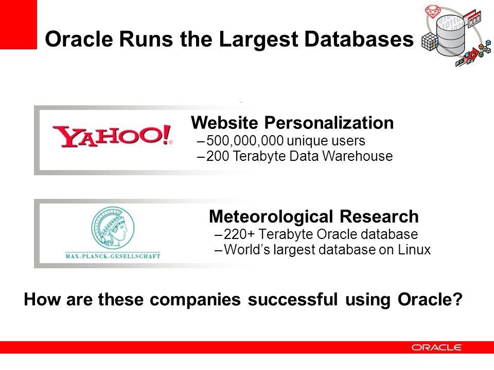 Oracle Runs the Largest Databases
