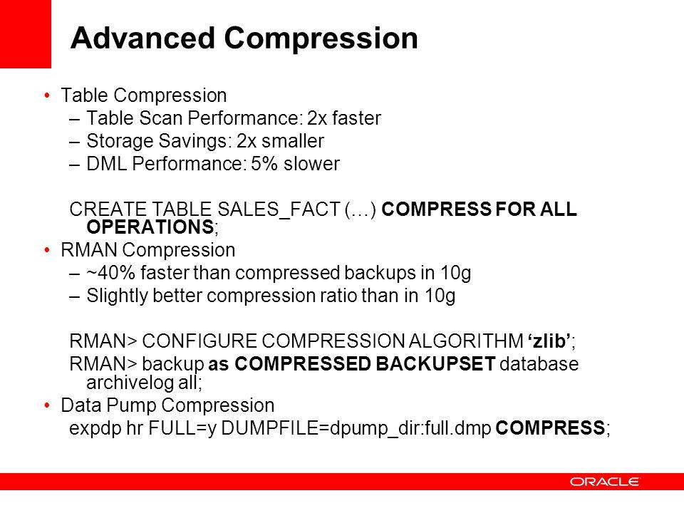 Advanced Compression Table Compression