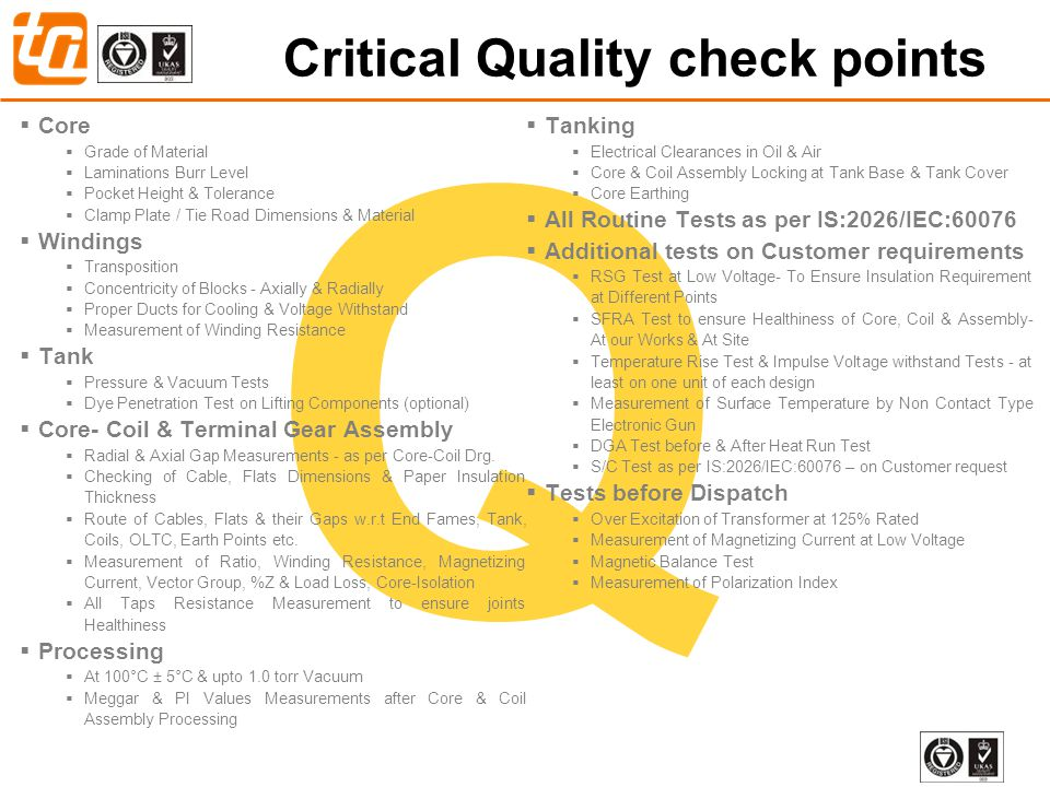 Critical Quality check points
