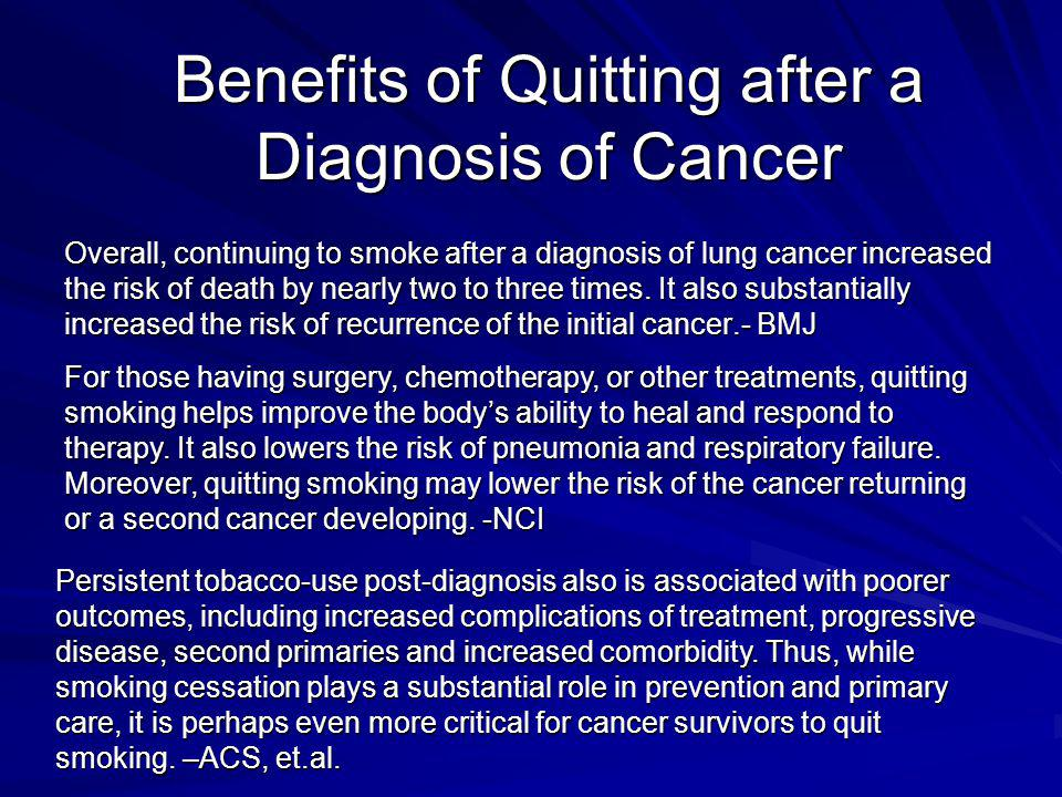 Benefits of Quitting after a Diagnosis of Cancer