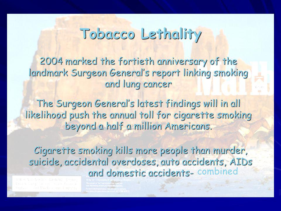 Tobacco Lethality 2004 marked the fortieth anniversary of the landmark Surgeon General's report linking smoking and lung cancer.