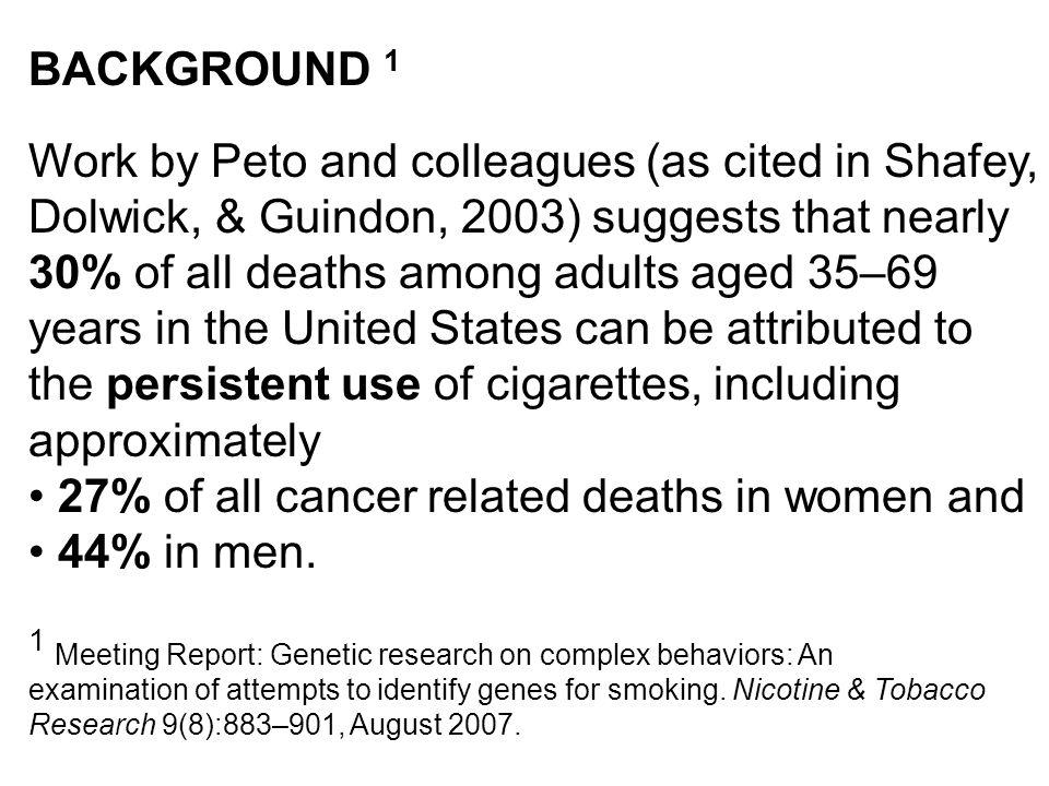 27% of all cancer related deaths in women and 44% in men.