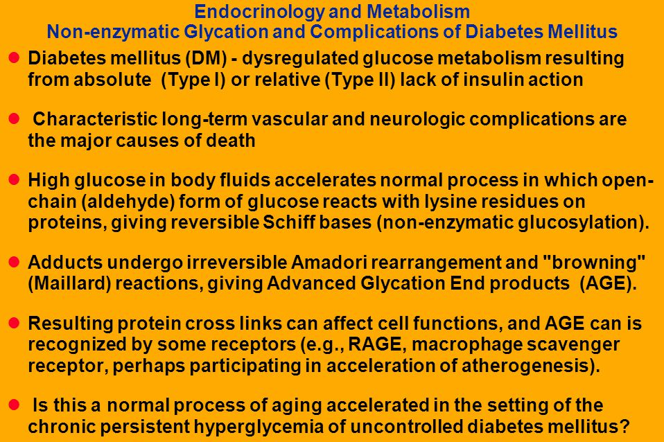 Endocrinology and Metabolism Non-enzymatic Glycation and Complications of Diabetes Mellitus