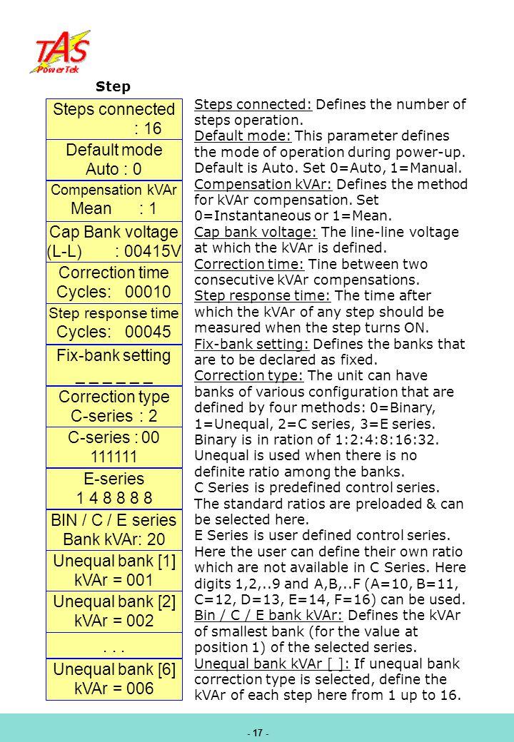 Steps connected : 16 Default mode Auto : 0 Mean : 1 Cap Bank voltage