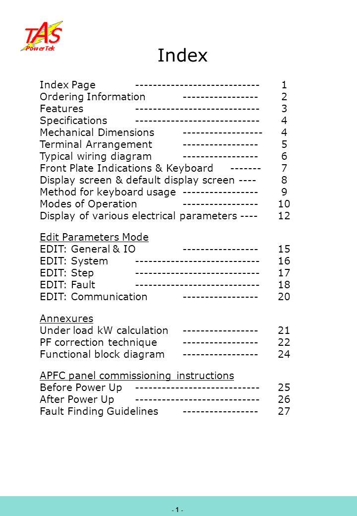 Index Index Page ---------------------------- 1