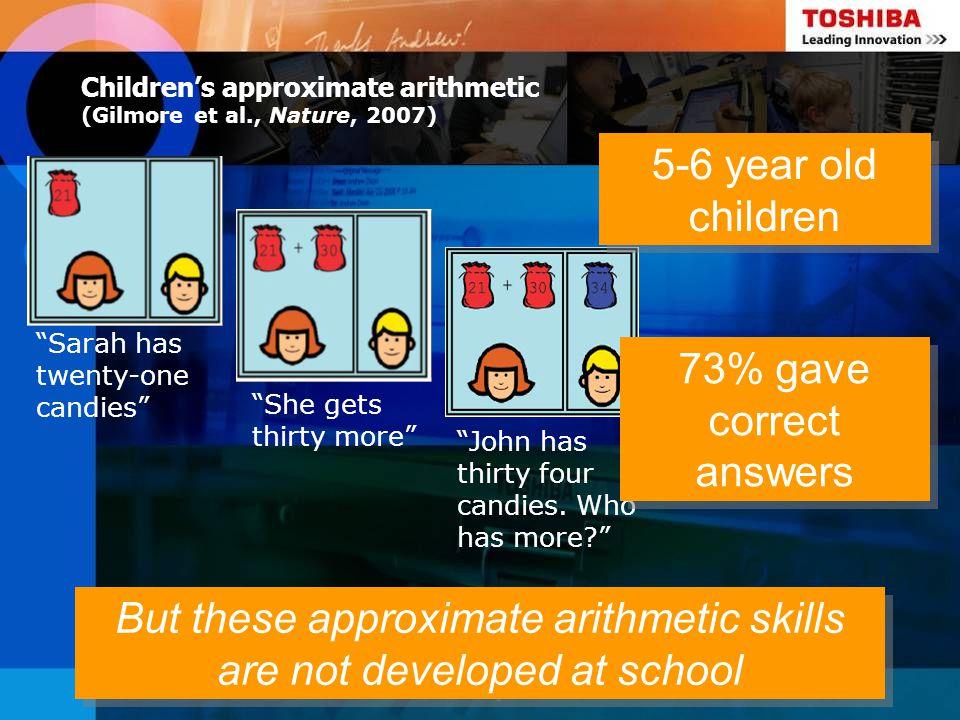 Children's approximate arithmetic (Gilmore et al., Nature, 2007)