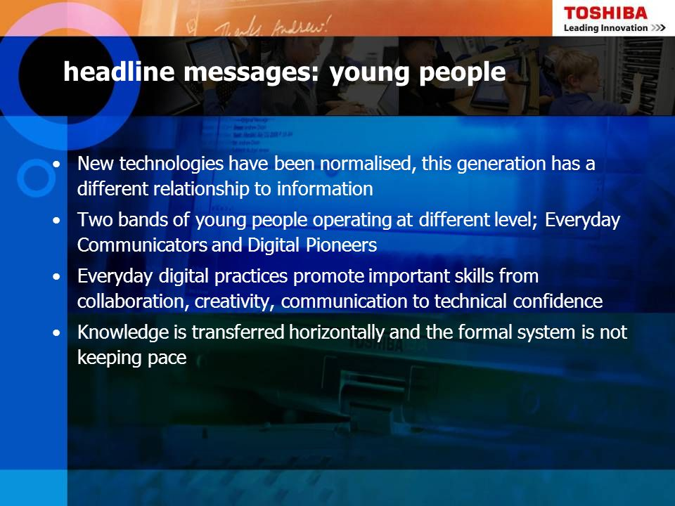 headline messages: young people