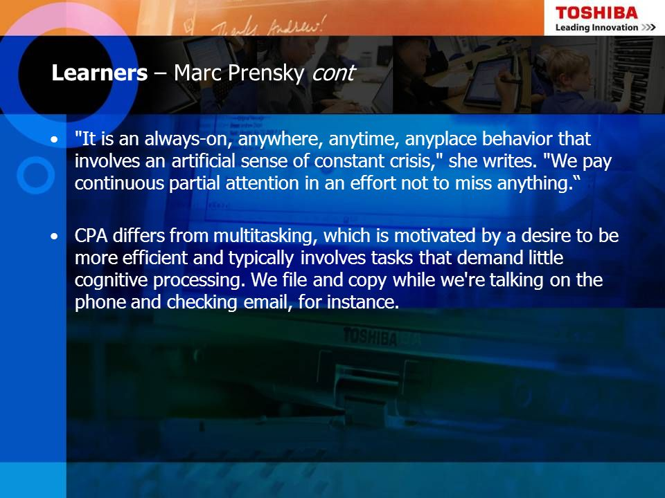 Learners – Marc Prensky cont