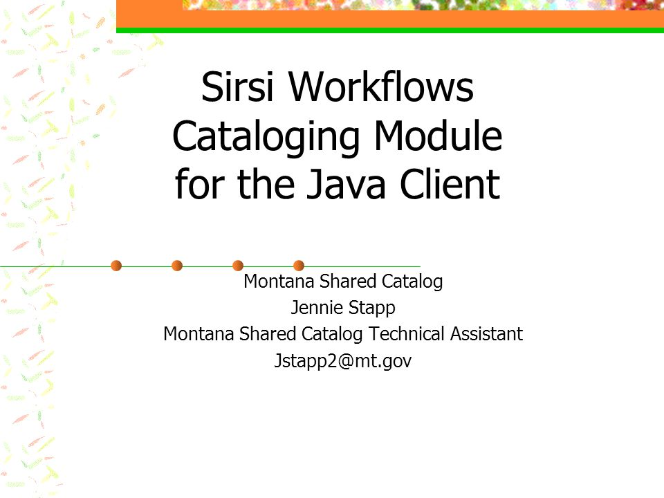 Sirsi Workflows Cataloging Module for the Java Client